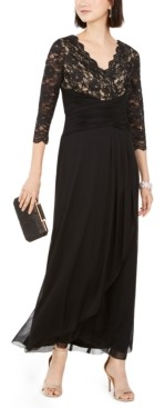 Jessica Howard Ruched Sequined Lace Gown