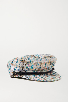 Maison Michel New Abby Leather-trimmed Metallic Boucle-tweed Cap - White