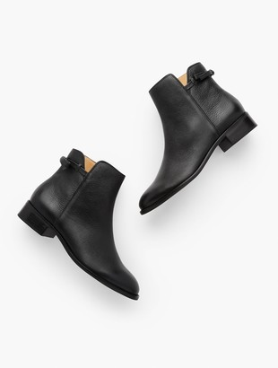 Talbots Tish Tie-Detail Ankle Boots - Pebbled Leather