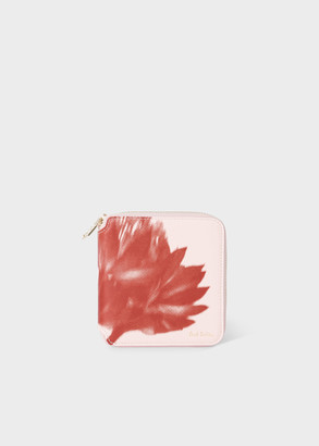 Paul Smith Women's Pink 'Screen Floral' Square Leather Zip-Around Wallet