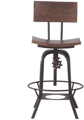 """Aa Warehousing 18"""" Wide Bar Stool with Back Rest, Adjustable Height"""