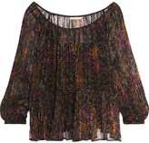 Mes Demoiselles Katarina Crinkled Printed Georgette Blouse - Brown