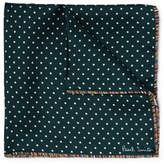 Paul Smith Stripe-trimmed Polka-dot Silk-twill Pocket Square - Emerald