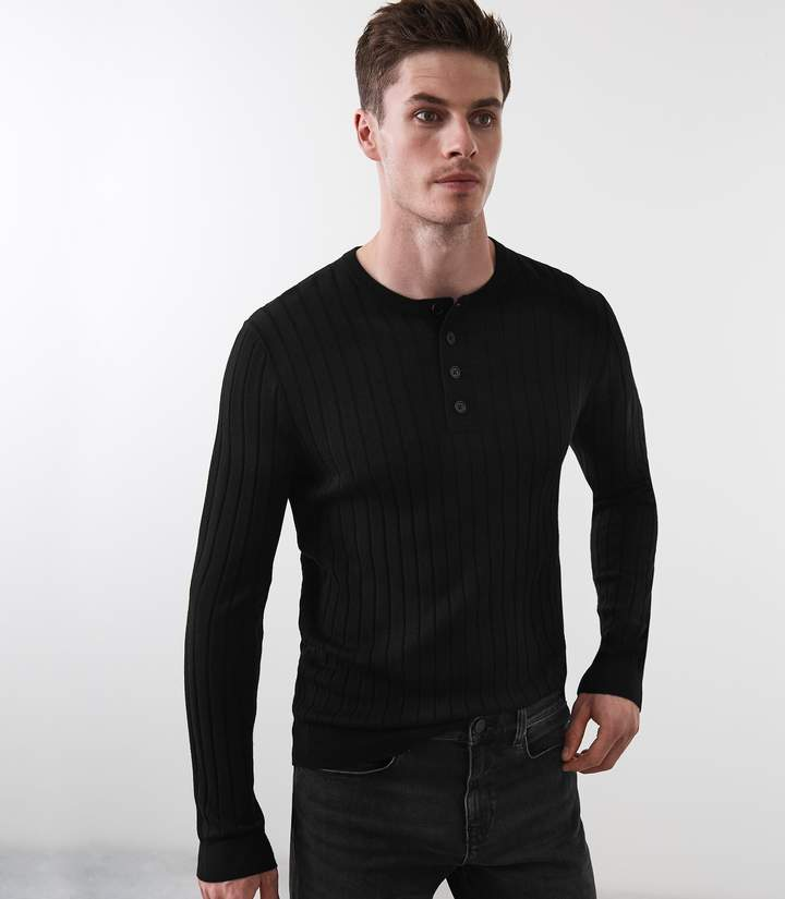 Reiss STAVROS WIDE RIBBED HENLEY TOP Black