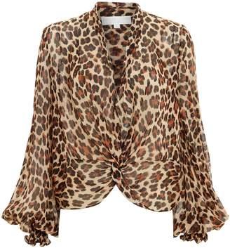 Caroline Constas Bette Chiffon Leopard Blouse