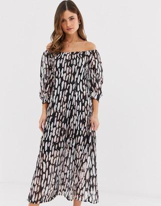 Religion bardot midi dress in abstract animal print-White