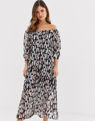 Religion bardot midi dress in abstract animal print