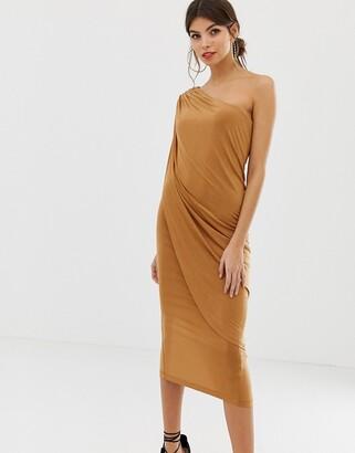 Asos Design DESIGN one shoulder drape slinky midi dress
