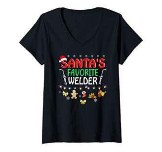 Womens Santa's Favorite Welder Funny Christmas Xmas Lights Hat V-Neck T-Shirt