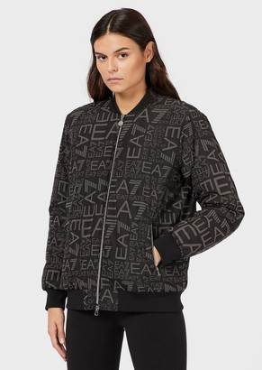 Ea7 Varsity-Style Bomber With All-Over Monogram
