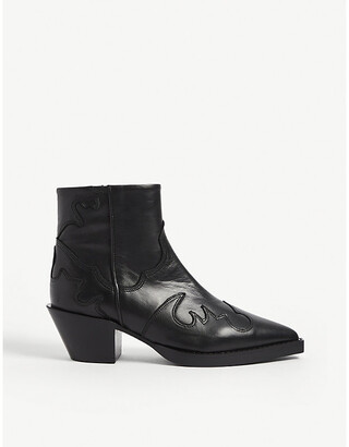 The Kooples Western embossed leather ankle boots