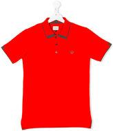 Armani Junior teen logo crest polo shirt - kids - Cotton - 14 yrs