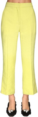 Rochas Cropped Linen Blend Pants