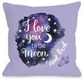 Love You To The Moon Purple Rocket Decorative Pillow by OBC