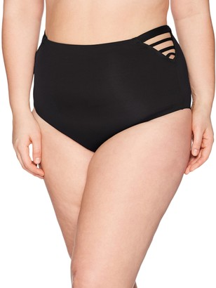 Becca Etc Women's Plus Size Making The Cut Vintage High Waist Bikini Bottom