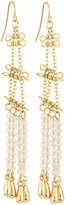 Fragments for Neiman Marcus Long Linear Crystal Drop Earrings, Gold/Clear