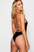boohoo High Rise Extreme Lace Up Back Body