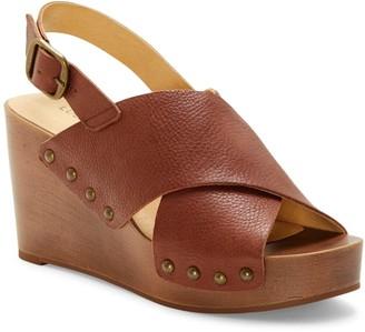 Lucky Brand Zalka Leather Slingback Wedge Sandal
