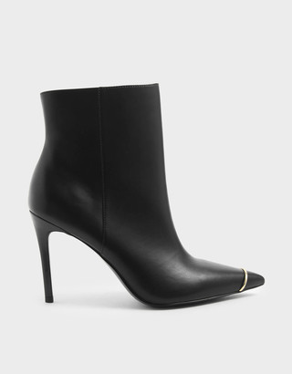 Charles & Keith Metallic Accent Stiletto Heel Ankle Boots