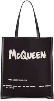Alexander McQueen Men's Graffiti Logo Tote Bag