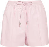 Pastel-pink leather drawstring shorts