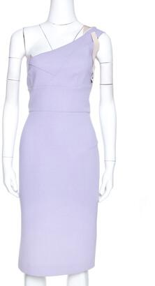 Roland Mouret Lavender Wool Crepe One Shoulder Dress L