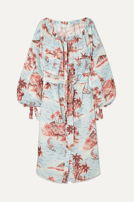 Zimmermann Eyes On Summer Printed Cotton And Linen-blend Canvas Dress - Light blue