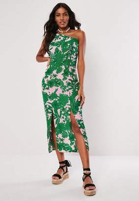 Missguided Tropical Print One Shoulder Maxi Dress