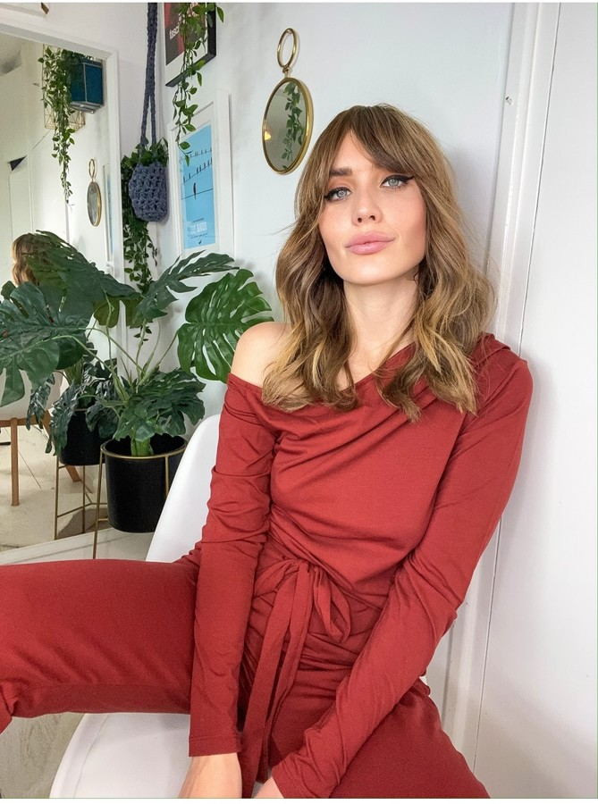 Thumbnail for your product : Little Mistress Rust Off-The-Shoulder Loungewear Jumpsuit