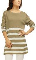 Allegra K Women Round Neck Stripes Boyfriend Loose Tunic Knit Top