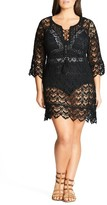 City Chic Plus Size Women's Macrame Caftan Cover-Up Tunic