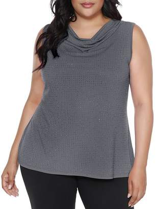 Belldini Plus Embellished Cowl-Neck Top