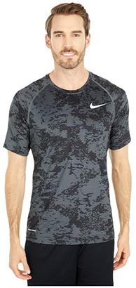 Nike Pro Top Short Sleeve Slim All Over Print (Iron Grey/White) Men's Clothing