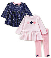 Little Me Baby Girls 12-24 Months Star-Print Top, Striped Peplum Top, & Leggings 3-Piece Set
