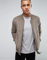 ONLY & SONS Faux Suede Bomber with Perforated Detail