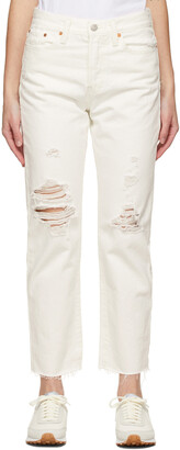 Levi's White Wedgie Straight Jeans