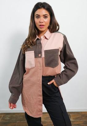 Missguided Burgundy Oversized Contrast Panel Denim Shirt