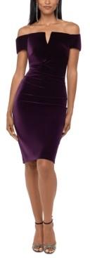 Xscape Evenings Velvet Off-The-Shoulder Sheath Dress