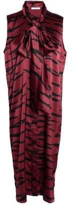 Ganni Pussy-bow Zebra-print Stretch-silk Satin Midi Dress