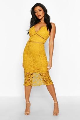 boohoo Lace Panelled Open Back Midi Dress