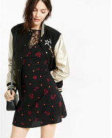 Express polka dot floral print lace inset fit and flare dress