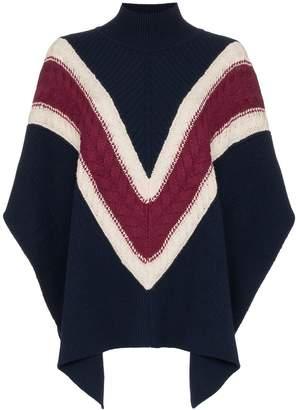 See by Chloe chevron stripe knitted poncho