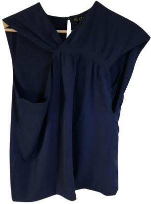 N. \n Blue Silk Top for Women
