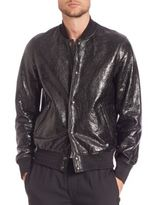 Diesel Black Gold Larbirbo Cracked Lambskin Leather Bomber Jacket