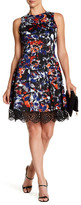 Donna Ricco Printed Crochet Hem Fit & Flare Dress