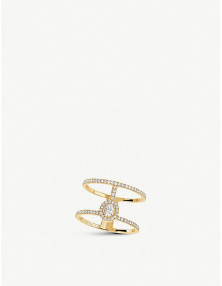 Messika Glam'Azone 2 Rows 18ct yellow-gold and pave diamond ring