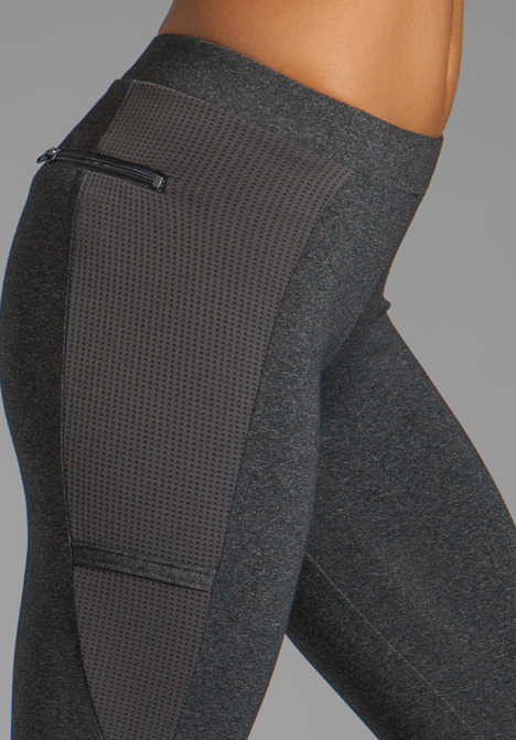 So Low Eclon Contrast Crop Legging in Heather Charcoal/Cosmo
