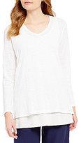 Eileen Fisher V-Neck Long Sleeve Organic Linen Tunic