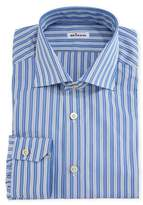 Kiton Multi-Striped Cotton Dress Shirt, Blue/White