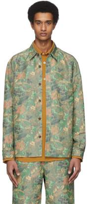 Hope Green and Brown Linen Western Shirt